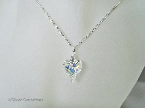 Sparkly Faceted AB Rainbow Crystal Wild Heart & Sterling Silver Pendant Necklace